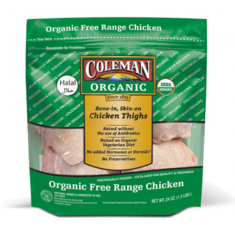 Coleman Organic IF Bone-In Skin-on Chicken Thigh (1.5Lbs)